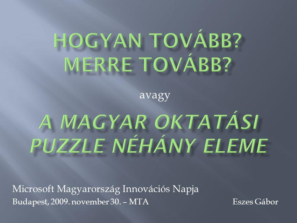 avagy Microsoft Magyarország Innovációs Napja Budapest, 2009. november 30. – MTA Eszes Gábor