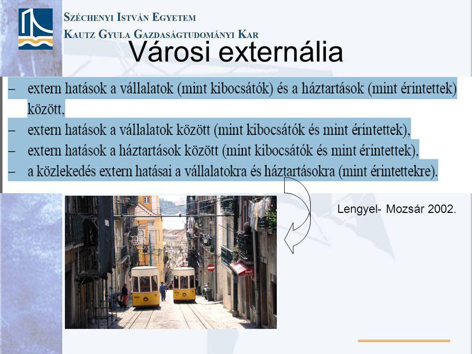 Városi externália Lengyel- Mozsár 2002.