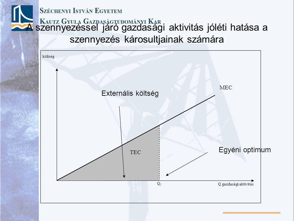 költség Q gazdasági aktivitás MEC Q1Q1 TEC A szennyezéssel járó gazdasági aktivitás jóléti hatása a szennyezés károsultjainak számára Externális költs