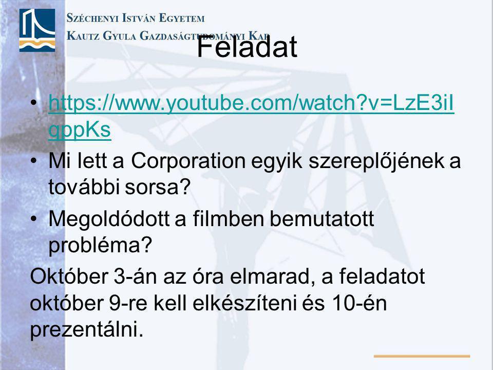 Feladat https://www.youtube.com/watch?v=LzE3iI qppKshttps://www.youtube.com/watch?v=LzE3iI qppKs Mi lett a Corporation egyik szereplőjének a további s