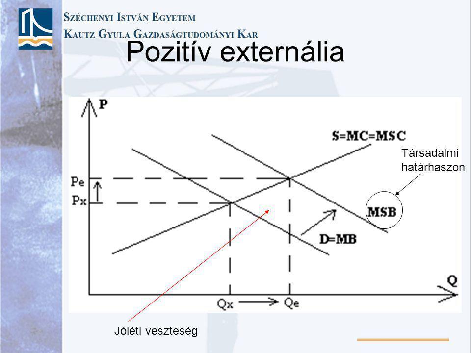 Jóléti konfliktus társadalmi optimum szennyezéssel járó gazdasági tevékenység esetén Q gazdasági aktivitás ár, költség, haszon MC P Q max MSC = MC + MEC MEC MM Q*