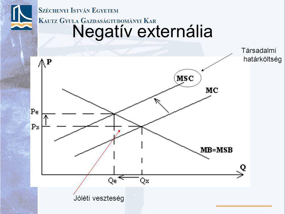 Negatív externália Jóléti veszteség Társadalmi határköltség