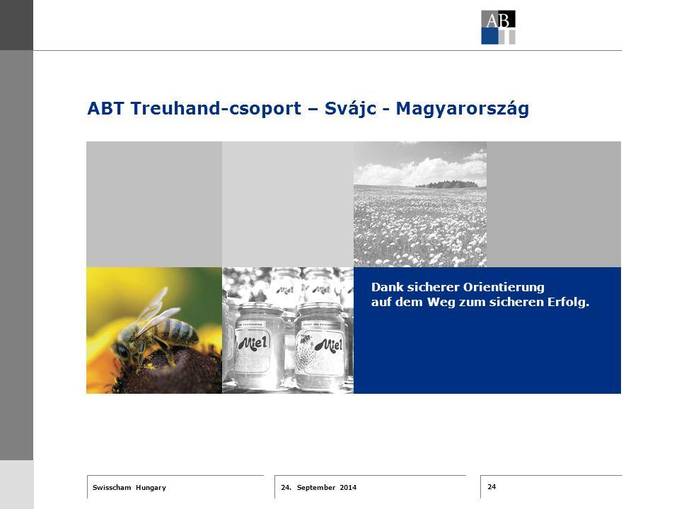 24 24. September 2014 Swisscham Hungary T 1 … R 2 … F 3 … Tell 4 ABT-Farben G 1 G 2 G 3 G 4 G 5 G 6 Zusatzfarben 7.25 5.70 0.00 7.25 8.750.0 5.00 10.0