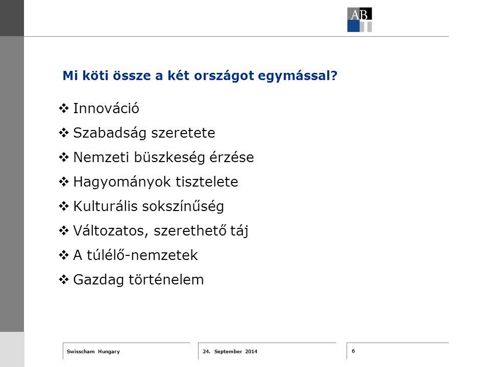 6 24. September 2014 Swisscham Hungary T 1 … R 2 … F 3 … Tell 4 ABT-Farben G 1 G 2 G 3 G 4 G 5 G 6 Zusatzfarben 7.25 5.70 0.00 7.25 8.750.0 5.00 10.00