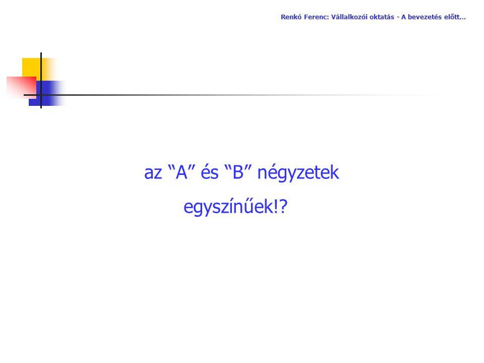 """az """"A"""" és """"B"""" négyzetek egyszínűek!? Renkó Ferenc: Vállalkozói oktatás - A bevezetés előtt…"""
