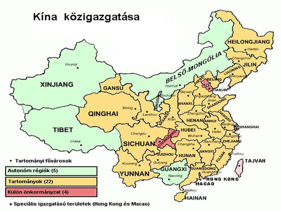 Kína (China) Földünk harmadik legnagyobb területű országa (Third greatest country of the world) Területe: 9 640 821 km² De a világ legnépesebb országa (But the world's most populated country) Lakossága: 1,3 milliárd fő (2007 becslés) Pénz (Monay) Renminbi (Yüan) = 28HUF (Forint) 2010-04-17.) GDP/fő: 4300 USD.