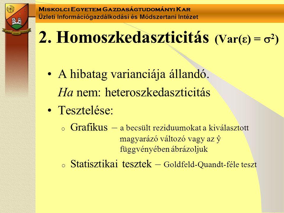 Miskolci Egyetem Gazdaságtudományi Kar Üzleti Információgazdálkodási és Módszertani Intézet 2. Homoszkedaszticitás (Var(ε) =  2 ) A hibatag varianciá