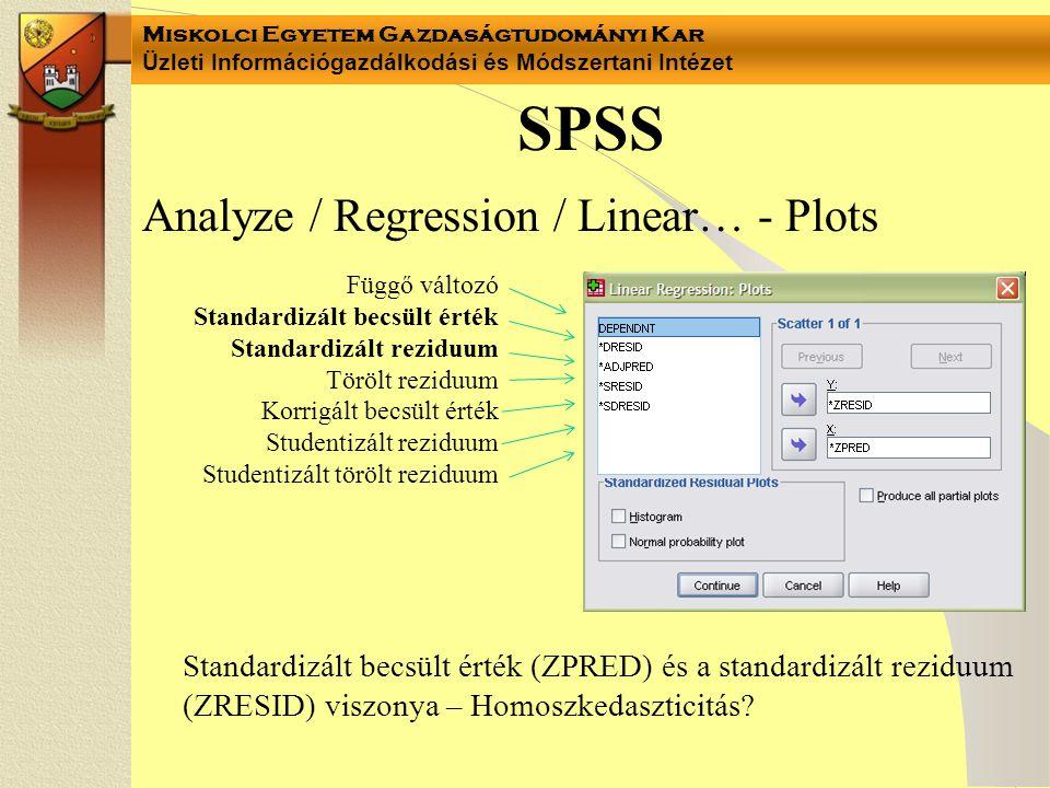 Miskolci Egyetem Gazdaságtudományi Kar Üzleti Információgazdálkodási és Módszertani Intézet Analyze / Regression / Linear… - Plots SPSS Függő változó
