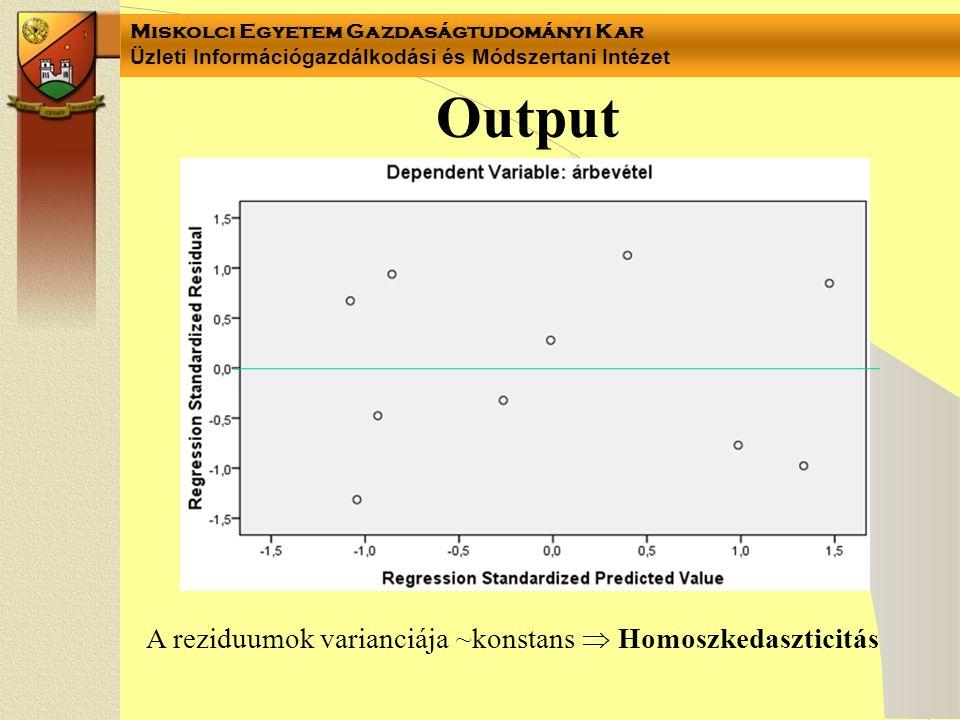 Miskolci Egyetem Gazdaságtudományi Kar Üzleti Információgazdálkodási és Módszertani Intézet Output A reziduumok varianciája ~konstans  Homoszkedaszti