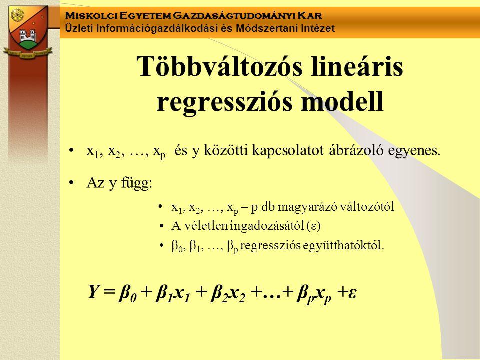 Miskolci Egyetem Gazdaságtudományi Kar Üzleti Információgazdálkodási és Módszertani Intézet Többváltozós lineáris regressziós modell x 1, x 2, …, x p