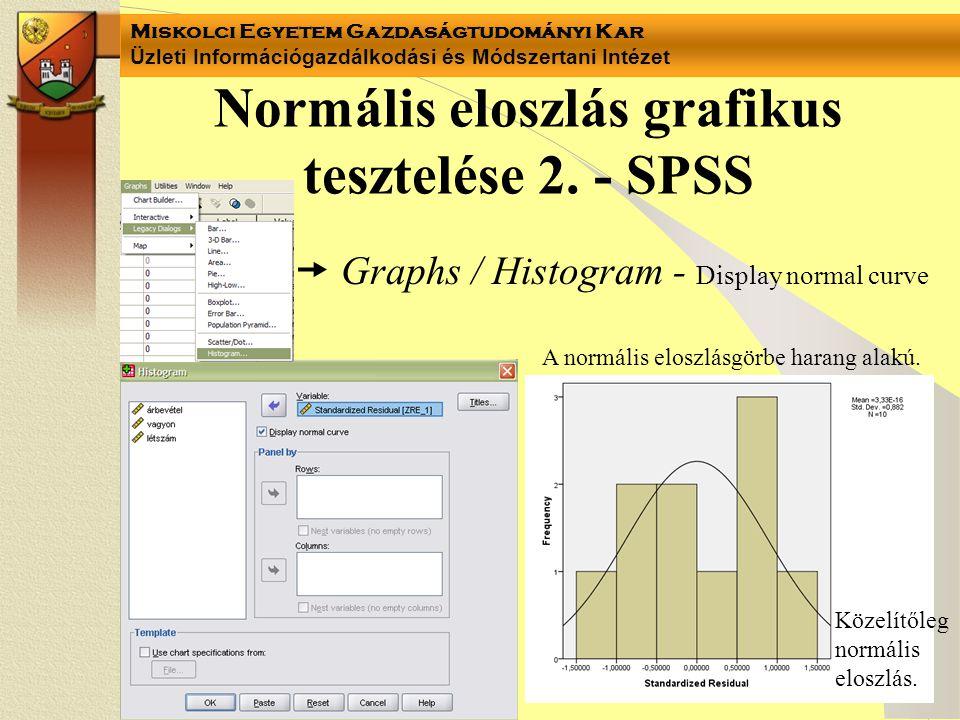 Miskolci Egyetem Gazdaságtudományi Kar Üzleti Információgazdálkodási és Módszertani Intézet  Graphs / Histogram - Display normal curve Közelítőleg no