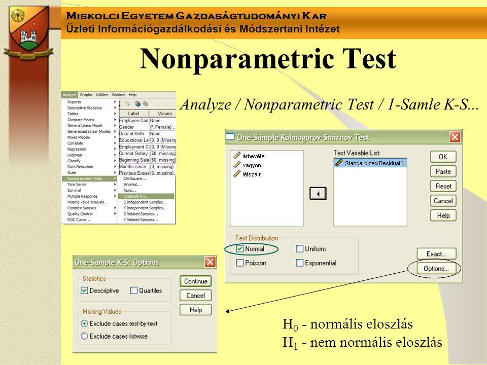 Miskolci Egyetem Gazdaságtudományi Kar Üzleti Információgazdálkodási és Módszertani Intézet Nonparametric Test Analyze / Nonparametric Test / 1-Samle