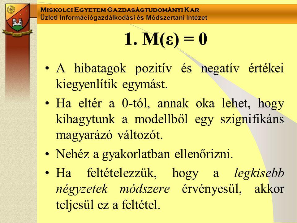 Miskolci Egyetem Gazdaságtudományi Kar Üzleti Információgazdálkodási és Módszertani Intézet 1. M(ε) = 0 A hibatagok pozitív és negatív értékei kiegyen