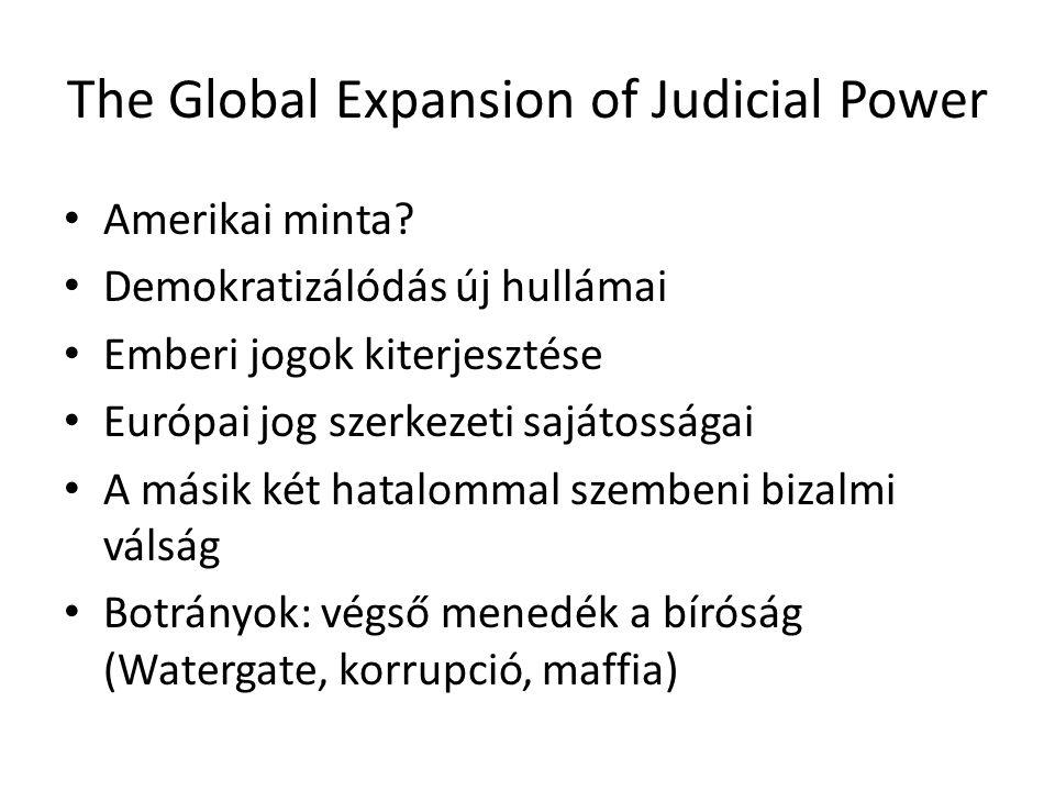 """""""Judicalization of politics : politikai ügyek a bíróságok előtt, bíróság-szerű eljárások a politikai intézményekben, alkotmánybíróságok Gag-rules """"The Least Dangerous Branch (?) A jelenség kritikája: demokratikus legitimáció hiánya."""