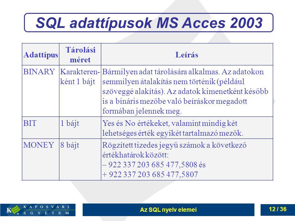 Az SQL nyelv elemei 12 / 36 SQL adattípusok MS Acces 2003 Adattípus Tárolási méret Leírás BINARYKarakteren- ként 1 bájt Bármilyen adat tárolására alkalmas.