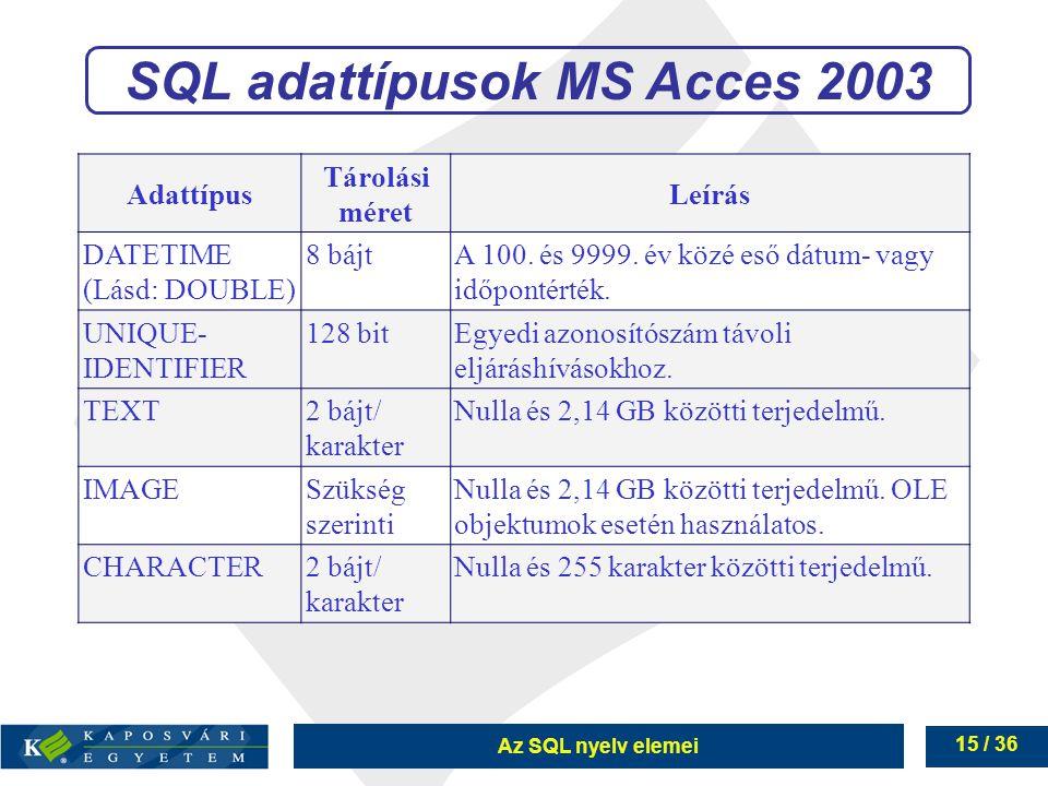 Az SQL nyelv elemei 15 / 36 SQL adattípusok MS Acces 2003 Adattípus Tárolási méret Leírás DATETIME (Lásd: DOUBLE) 8 bájtA 100.