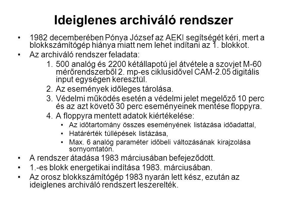 Ideiglenes archiváló rendszer 1982 decemberében Pónya József az AEKI segítségét kéri, mert a blokkszámítógép hiánya miatt nem lehet indítani az 1. blo