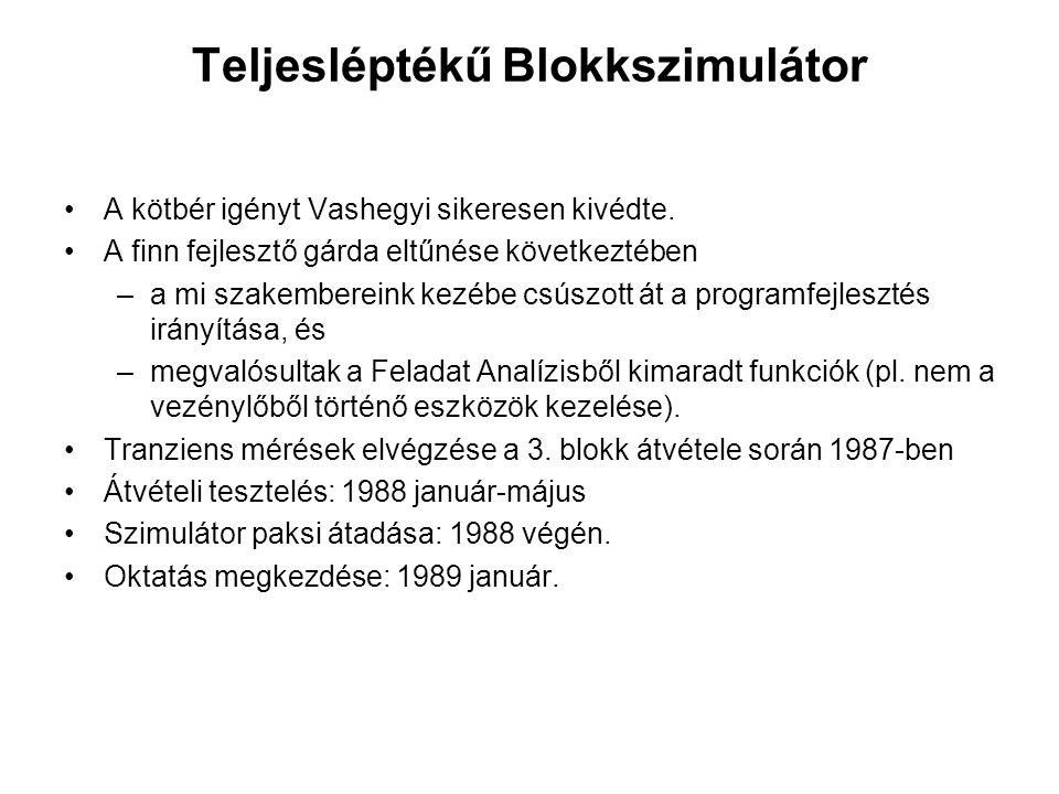 Teljesléptékű Blokkszimulátor A kötbér igényt Vashegyi sikeresen kivédte. A finn fejlesztő gárda eltűnése következtében –a mi szakembereink kezébe csú
