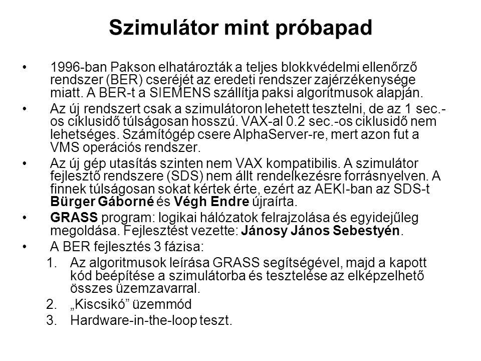 Szimulátor mint próbapad 1996-ban Pakson elhatározták a teljes blokkvédelmi ellenőrző rendszer (BER) cseréjét az eredeti rendszer zajérzékenysége miat