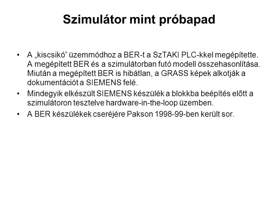 """Szimulátor mint próbapad A """"kiscsikó"""" üzemmódhoz a BER-t a SzTAKI PLC-kkel megépítette. A megépített BER és a szimulátorban futó modell összehasonlítá"""