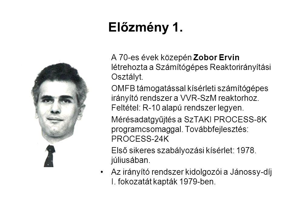 Előzmény 1. A 70-es évek közepén Zobor Ervin létrehozta a Számítógépes Reaktorirányítási Osztályt. OMFB támogatással kísérleti számítógépes irányító r