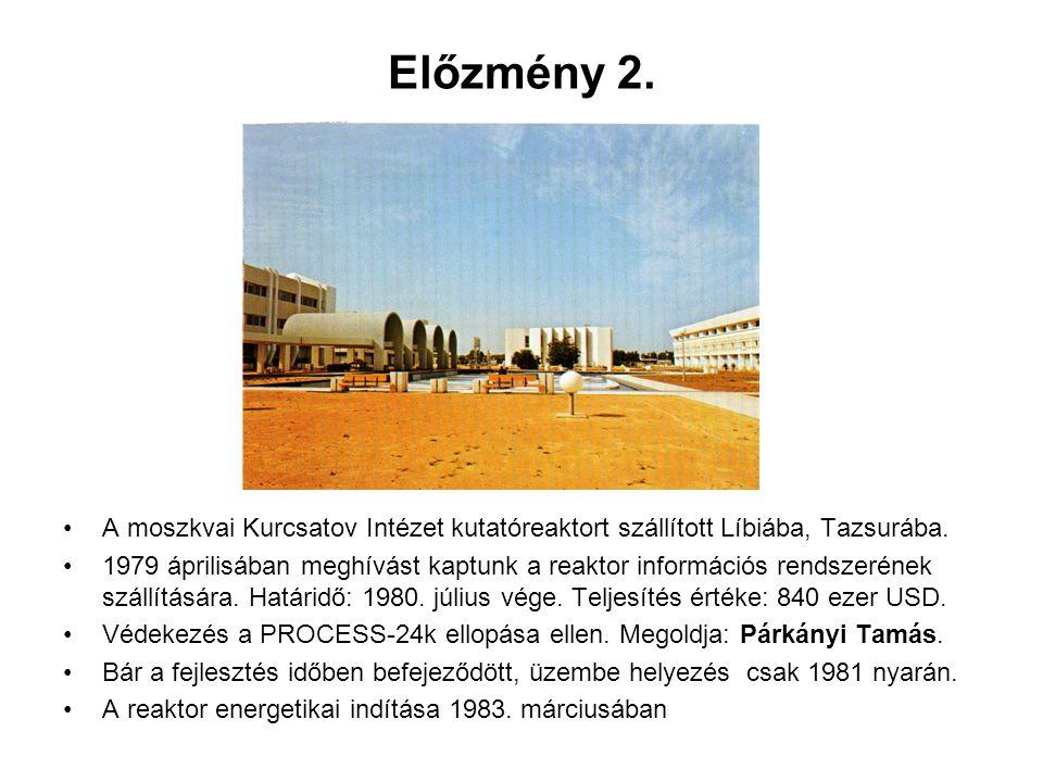 Előzmény 2. A moszkvai Kurcsatov Intézet kutatóreaktort szállított Líbiába, Tazsurába. 1979 áprilisában meghívást kaptunk a reaktor információs rendsz