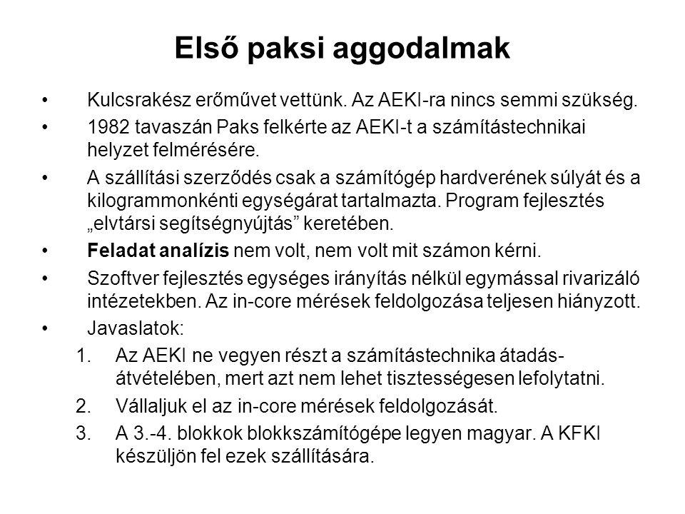 Ideiglenes archiváló rendszer 1982 decemberében Pónya József az AEKI segítségét kéri, mert a blokkszámítógép hiánya miatt nem lehet indítani az 1.