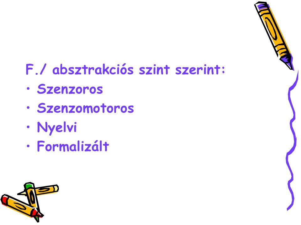 F./ absztrakciós szint szerint: Szenzoros Szenzomotoros Nyelvi Formalizált