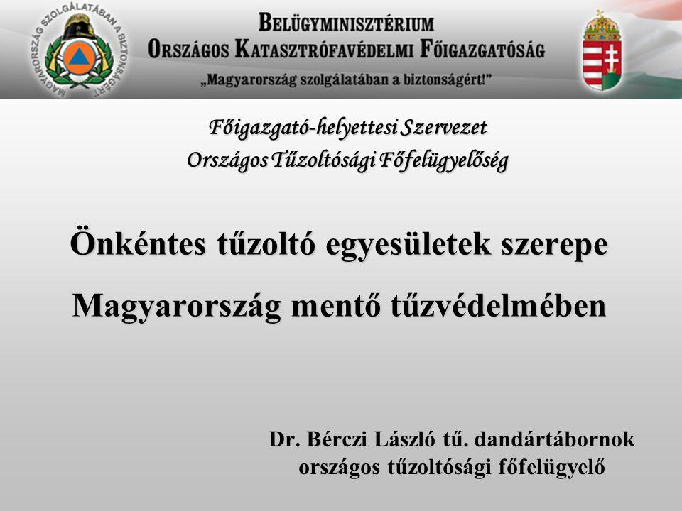 Önkéntes tűzoltó egyesületek szerepe Magyarország mentő tűzvédelmében Dr. Bérczi László tű. dandártábornok országos tűzoltósági főfelügyelő Főigazgató