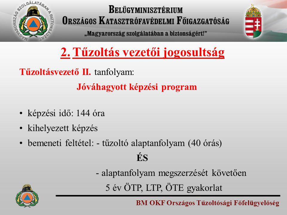 BM OKF Országos Tűzoltósági Főfelügyelőség Tűzoltásvezető II. tanfolyam: Jóváhagyott képzési program képzési idő: 144 óra kihelyezett képzés bemeneti