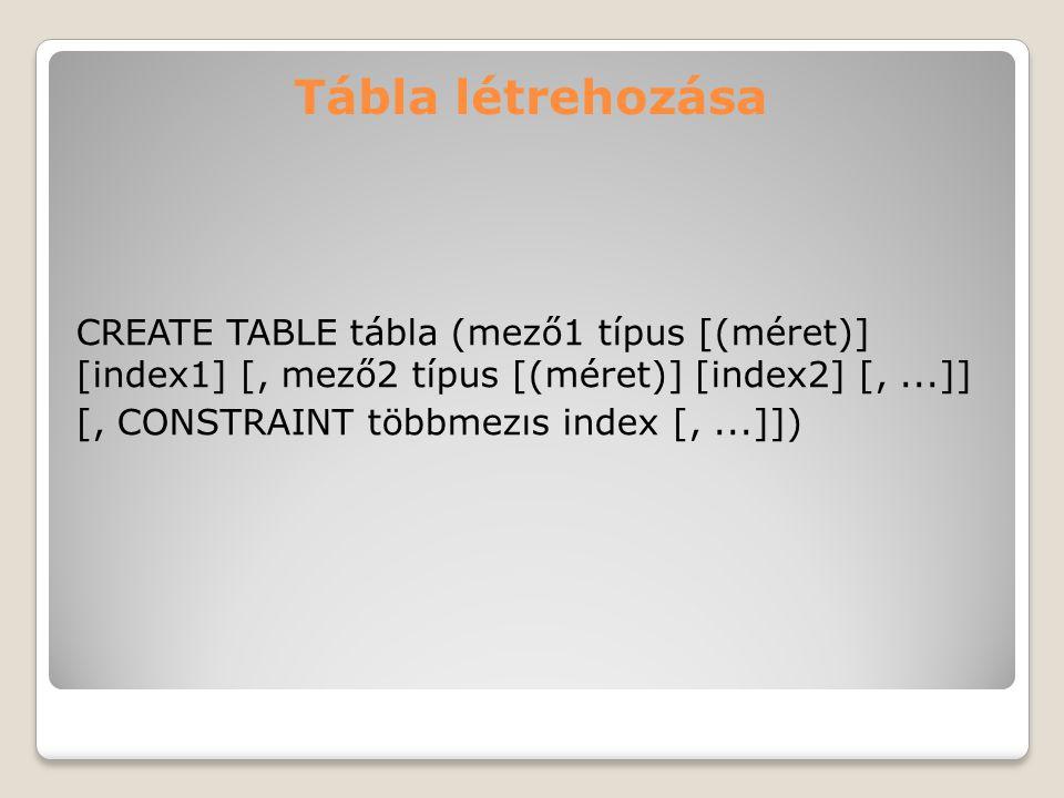 Tábla létrehozása CREATE TABLE tábla (mező1 típus [(méret)] [index1] [, mező2 típus [(méret)] [index2] [,...]] [, CONSTRAINT többmezıs index [,...]])
