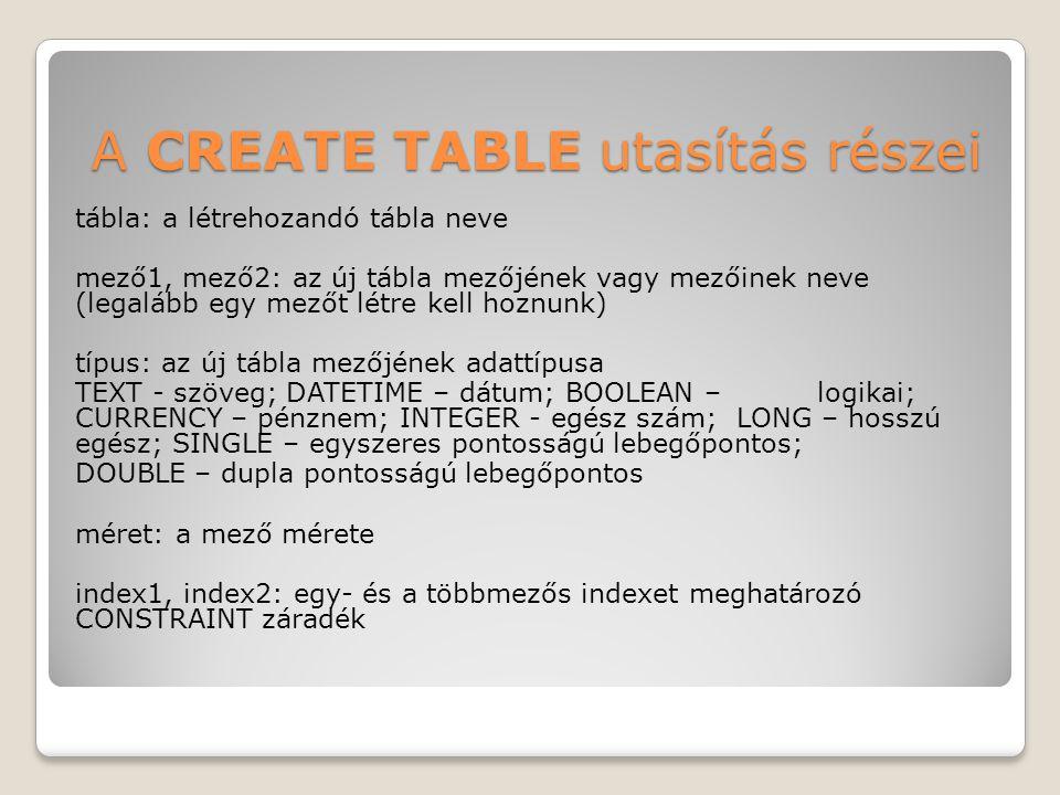 A CREATE TABLE utasítás részei tábla: a létrehozandó tábla neve mező1, mező2: az új tábla mezőjének vagy mezőinek neve (legalább egy mezőt létre kell hoznunk) típus: az új tábla mezőjének adattípusa TEXT - szöveg; DATETIME – dátum; BOOLEAN –logikai; CURRENCY – pénznem; INTEGER - egész szám; LONG – hosszú egész; SINGLE – egyszeres pontosságú lebegőpontos; DOUBLE – dupla pontosságú lebegőpontos méret: a mező mérete index1, index2: egy- és a többmezős indexet meghatározó CONSTRAINT záradék