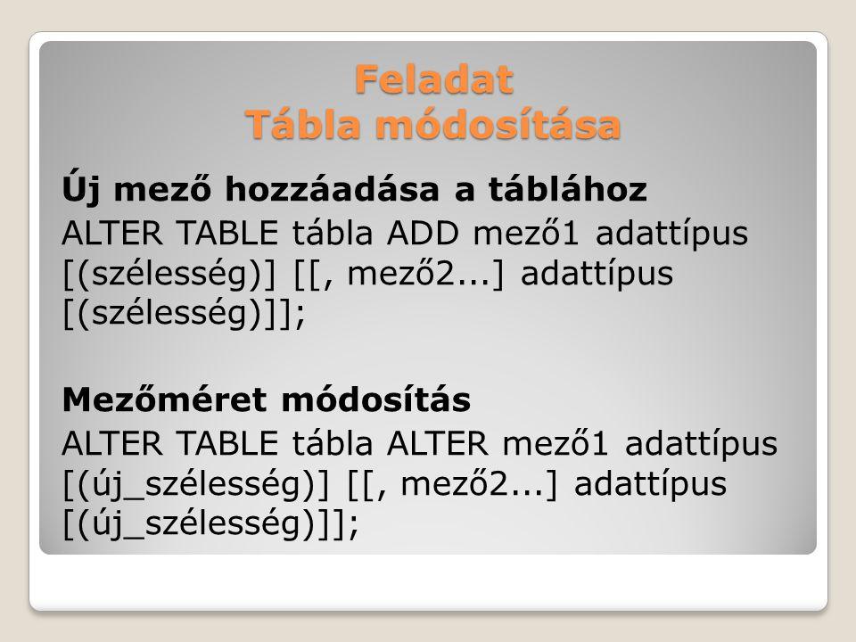 Feladat Tábla módosítása Új mező hozzáadása a táblához ALTER TABLE tábla ADD mező1 adattípus [(szélesség)] [[, mező2...] adattípus [(szélesség)]]; Mezőméret módosítás ALTER TABLE tábla ALTER mező1 adattípus [(új_szélesség)] [[, mező2...] adattípus [(új_szélesség)]];