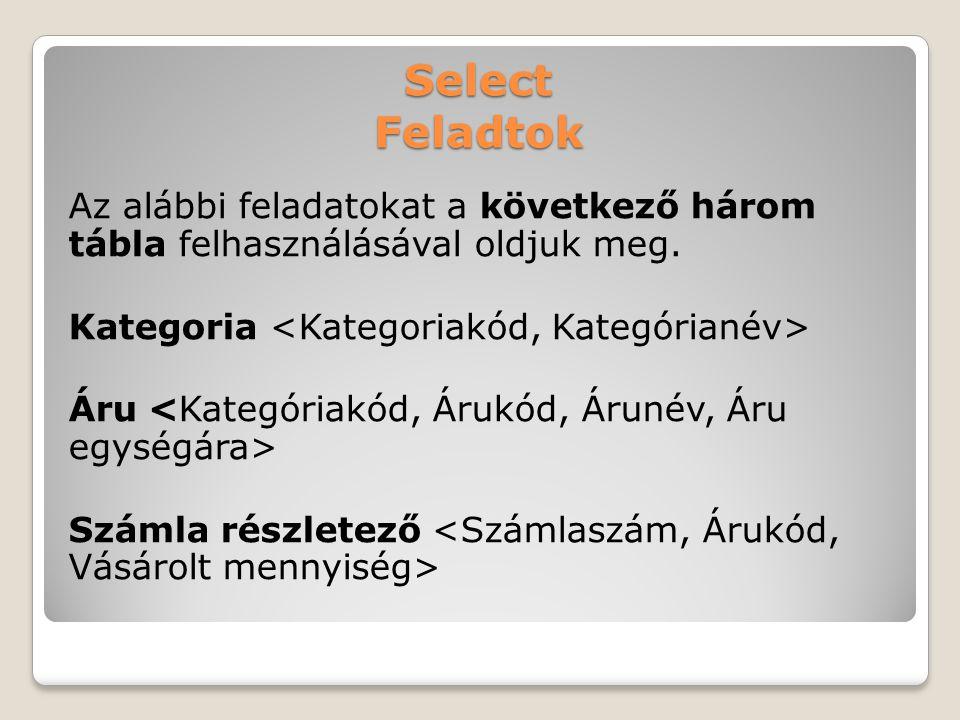 Select Feladtok Az alábbi feladatokat a következő három tábla felhasználásával oldjuk meg.