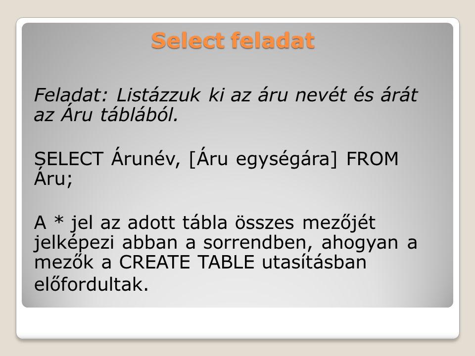 Select feladat Feladat: Listázzuk ki az áru nevét és árát az Áru táblából.