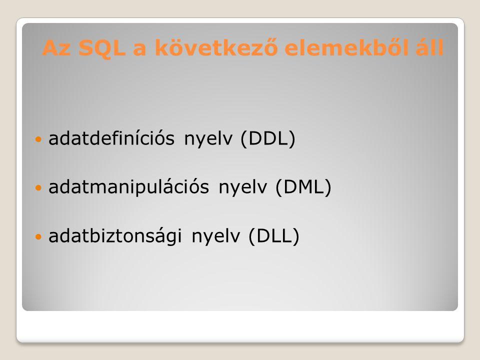 Az SQL a következő elemekből áll adatdefiníciós nyelv (DDL) adatmanipulációs nyelv (DML) adatbiztonsági nyelv (DLL)
