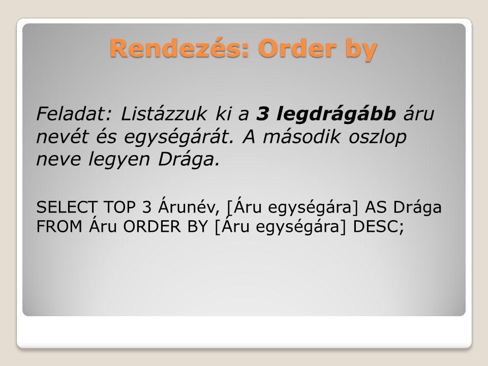 Rendezés: Order by Feladat: Listázzuk ki a 3 legdrágább áru nevét és egységárát.