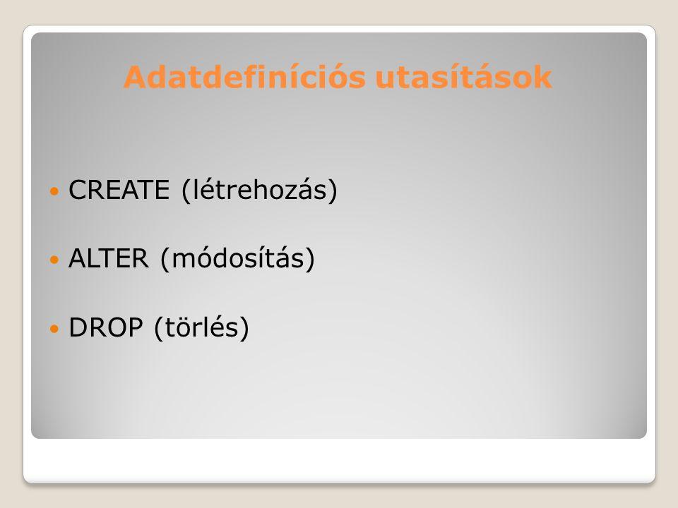 Adatdefiníciós utasítások CREATE (létrehozás) ALTER (módosítás) DROP (törlés)