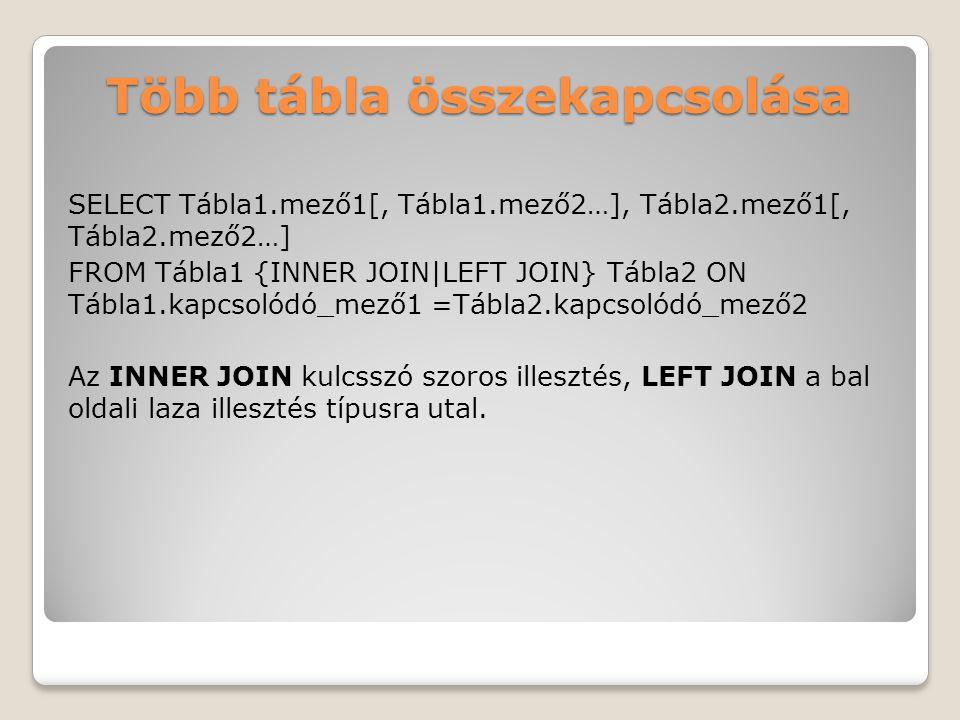 Több tábla összekapcsolása SELECT Tábla1.mező1[, Tábla1.mező2…], Tábla2.mező1[, Tábla2.mező2…] FROM Tábla1 {INNER JOIN|LEFT JOIN} Tábla2 ON Tábla1.kapcsolódó_mező1 =Tábla2.kapcsolódó_mező2 Az INNER JOIN kulcsszó szoros illesztés, LEFT JOIN a bal oldali laza illesztés típusra utal.