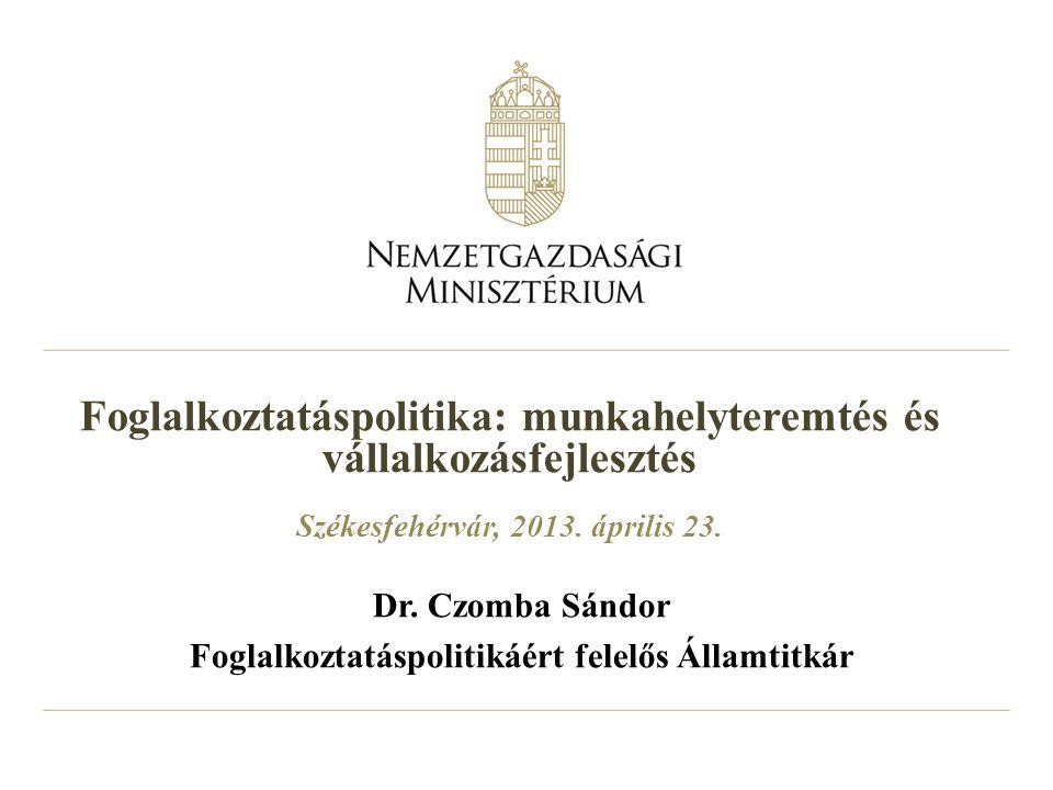 2 BEVEZETÉS Az egyik legnagyobb kihívás Európában a gazdasági növekedés beindítása és a foglalkoztatás bővítése Az EU a jelenlegi 68%-ról 75%-ra kívánja növelni a rátát 2020-ig Magyarország az EU-átlaghoz való foglalkoztatási felzárkózást és az ország átfogó, teljes újjászervezését tűzte ki célul Magyarországnak a célkitűzés eléréséhez nagyobb erőfeszítéseket kell tenni (közel 1 millió ember hiányzik a foglalkoztatásból) A korlátozott kormányzati mozgástér miatt (örökölt helyzet + elhúzódó globális válás) nem szokványos eszközök alkalmazása