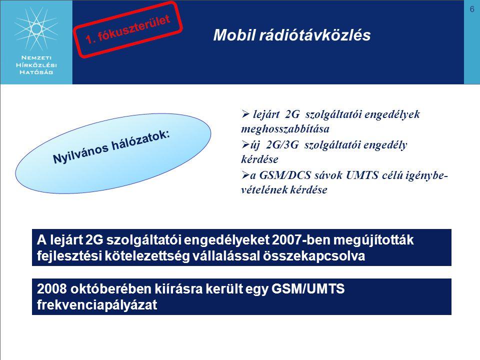 6 Mobil rádiótávközlés Nyilvános hálózatok:  lejárt 2G szolgáltatói engedélyek meghosszabbítása  a GSM/DCS sávok UMTS célú igénybe- vételének kérdése  új 2G/3G szolgáltatói engedély kérdése A lejárt 2G szolgáltatói engedélyeket 2007-ben megújították fejlesztési kötelezettség vállalással összekapcsolva 2008 októberében kiírásra került egy GSM/UMTS frekvenciapályázat