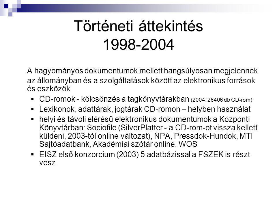 Történeti áttekintés 1998-2004 A hagyományos dokumentumok mellett hangsúlyosan megjelennek az állományban és a szolgáltatások között az elektronikus források és eszközök  CD-romok - kölcsönzés a tagkönyvtárakban (2004: 26406 db CD-rom)  Lexikonok, adattárak, jogtárak CD-romon – helyben használat  helyi és távoli elérésű elektronikus dokumentumok a Központi Könyvtárban: Sociofile (SilverPlatter - a CD-rom-ot vissza kellett küldeni, 2003-tól online változat), NPA, Pressdok-Hundok, MTI Sajtóadatbank, Akadémiai szótár online, WOS  EISZ első konzorcium (2003) 5 adatbázissal a FSZEK is részt vesz.