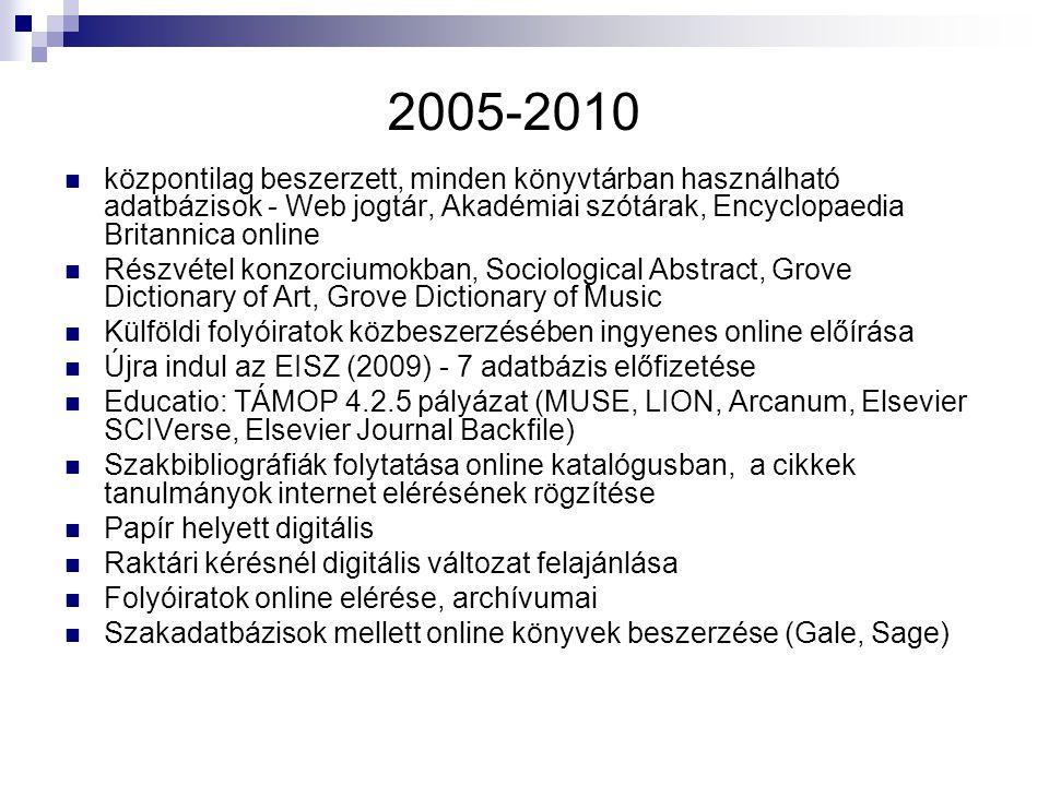 2005-2010 központilag beszerzett, minden könyvtárban használható adatbázisok - Web jogtár, Akadémiai szótárak, Encyclopaedia Britannica online Részvétel konzorciumokban, Sociological Abstract, Grove Dictionary of Art, Grove Dictionary of Music Külföldi folyóiratok közbeszerzésében ingyenes online előírása Újra indul az EISZ (2009) - 7 adatbázis előfizetése Educatio: TÁMOP 4.2.5 pályázat (MUSE, LION, Arcanum, Elsevier SCIVerse, Elsevier Journal Backfile) Szakbibliográfiák folytatása online katalógusban, a cikkek tanulmányok internet elérésének rögzítése Papír helyett digitális Raktári kérésnél digitális változat felajánlása Folyóiratok online elérése, archívumai Szakadatbázisok mellett online könyvek beszerzése (Gale, Sage)