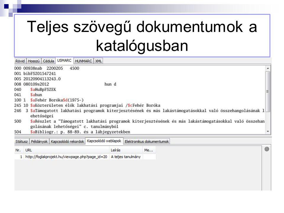 Teljes szövegű dokumentumok a katalógusban