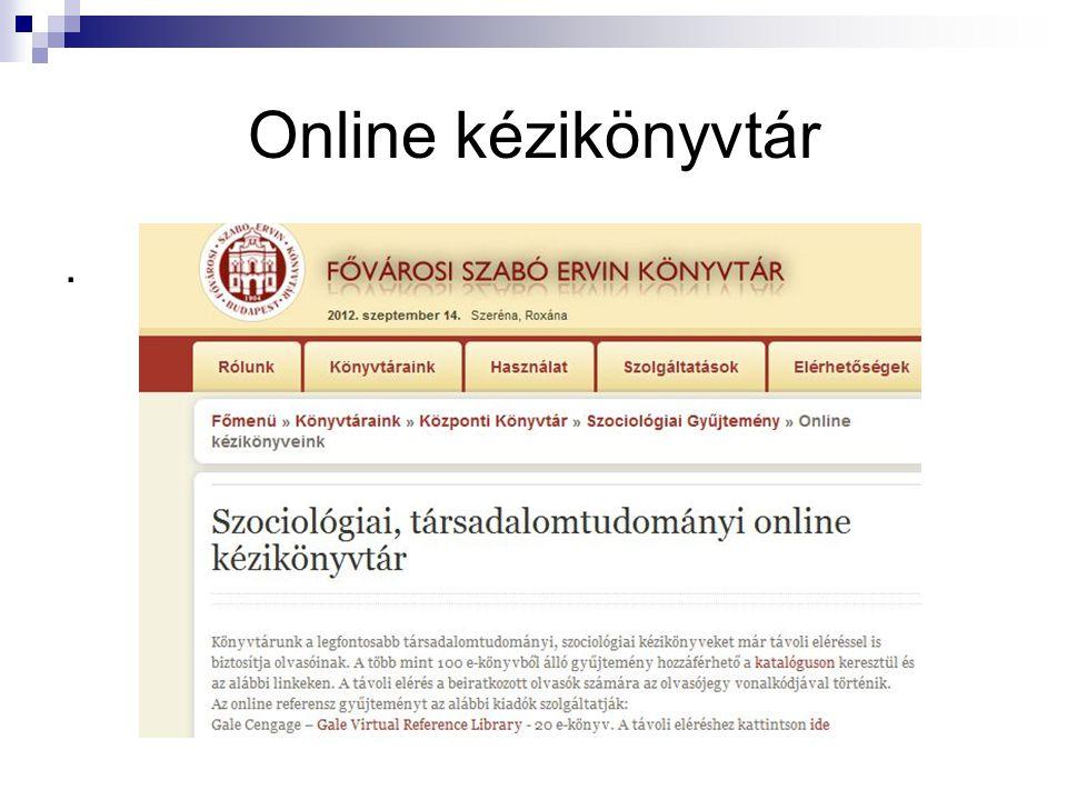 Online kézikönyvtár.