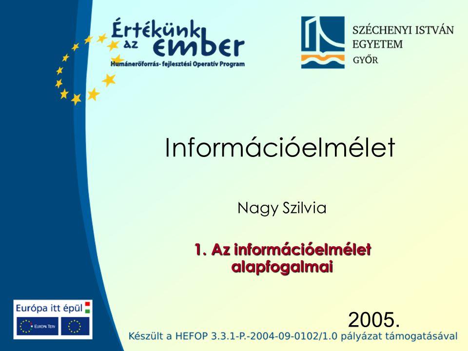 2005. Információelmélet Nagy Szilvia 1. Az információelmélet alapfogalmai