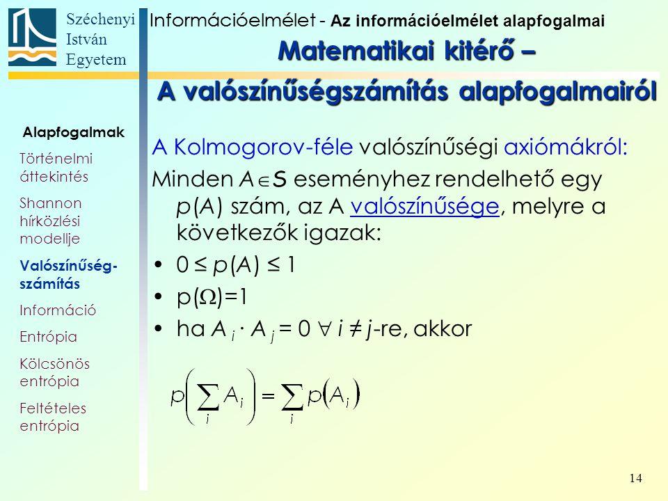 Széchenyi István Egyetem 14 A Kolmogorov-féle valószínűségi axiómákról: Minden A  S eseményhez rendelhető egy p(A) szám, az A valószínűsége, melyre a következők igazak: 0 ≤ p(A) ≤ 1 p(  )=1 ha A i ∙ A j = 0  i ≠ j-re, akkor Alapfogalmak Történelmi áttekintés Shannon hírközlési modellje Valószínűség- számítás Információ Entrópia Kölcsönös entrópia Feltételes entrópia InformációelméletInformációelmélet - Az információelmélet alapfogalmai Matematikai kitérő – A valószínűségszámítás alapfogalmairól