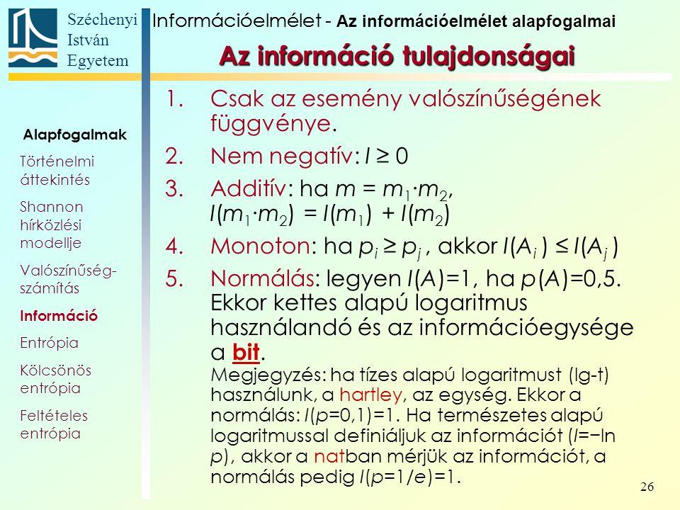 Széchenyi István Egyetem 26 Az információ tulajdonságai 1.Csak az esemény valószínűségének függvénye.