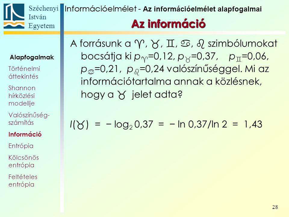 Széchenyi István Egyetem 28 Az információ A forrásunk a , , , ,  szimbólumokat bocsátja ki p  =0,12, p  =0,37, p  =0,06, p  =0,21, p  =0,24 valószínűséggel.