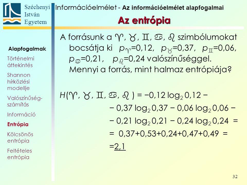 Széchenyi István Egyetem 32 Az entrópia A forrásunk a , , , ,  szimbólumokat bocsátja ki p  =0,12, p  =0,37, p  =0,06, p  =0,21, p  =0,24 valószínűséggel.